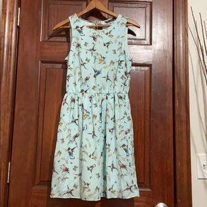 Zara Trafaluc Bird Print Sleeveless Tank Dress
